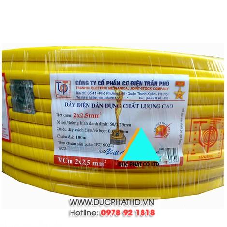 Dây điện đôi mềm Trần Phú 2x4,0 (100m/cuộn)
